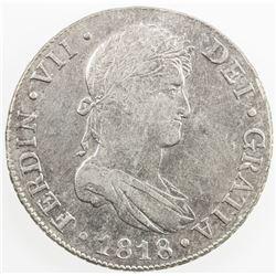 GUATEMALA: Fernando VII, 1808-1821, AR 8 reales, 1818-NG. EF