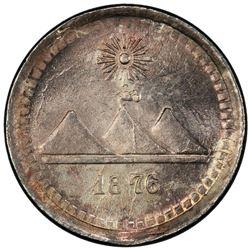 GUATEMALA: Republic, AR 1/4 real (quartilla), 1876. PCGS MS67