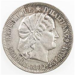 HAITI: Republic, AR gourde, 1882. EF