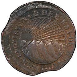 HONDURAS: Republic, AE 4 reales, 1854-T. PCGS EF45