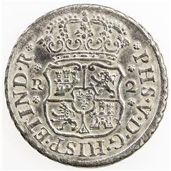 MEXICO: Felipe V, 2nd reign, 1724-1746, AR 2 reales, 1744-Mo. EF-AU