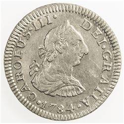 MEXICO: Carlos III, 1759-1788, AR 1/2 real, 1784-Mo. EF