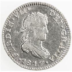 MEXICO: Fernando VII, 1808-1821, AR 1/2 real, 1817-Mo. AU