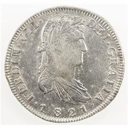 MEXICO: Fernando VII, 1808-1821, AR 8 reales, 1821-Zs. EF-AU