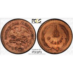 MEXICO: Republic, AE 1/16 real, 1831-Mo