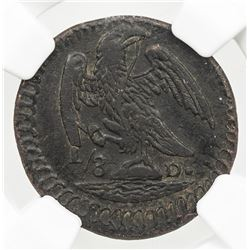 MEXICO: Republic, AE 1/8 real, 1824-D