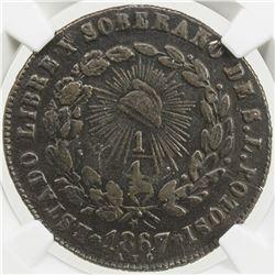 MEXICO: Republic, AE 1/4 real, 1867