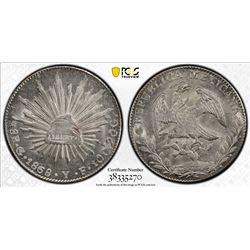 MEXICO: Republic, AR 8 reales, 1868/58-Go. PCGS MS63