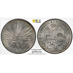 MEXICO: Republic, AR 8 reales, 1883-Go. PCGS MS61