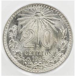 MEXICO: Estados Unidos, AR 20 centavos, 1935-Mo