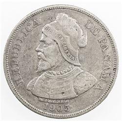 PANAMA: Republic, 50 centesimos, 1905. VF