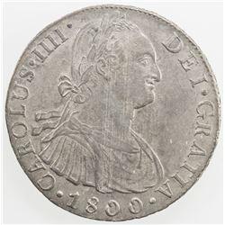 PERU: Carlos IV, 1788-1808, AR 8 reales, Lima, 1800. AU