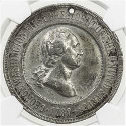 UNITED STATES: white metal medal, 1889. NGC AU50