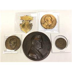 UNITED STATES: LOT of 5 medals of Franklin Delano Roosevelt including