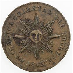 URUGUAY: Republic, AE 20 centesimos, 1843/0. VF