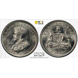 AUSTRALIA: George V, 1910-1936, AR threepence, 1936(m). PCGS MS63
