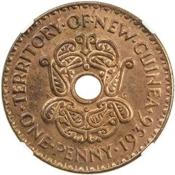 NEW GUINEA: Edward VIII, 1936, AE penny, 1936. NGC MS65