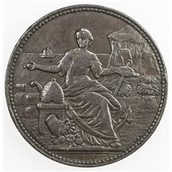 NEW ZEALAND: AE penny token, ND (1857). VF
