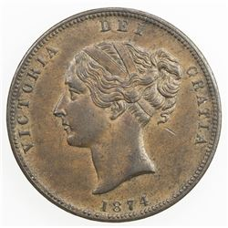 NEW ZEALAND: AE penny token, ND (1874). EF