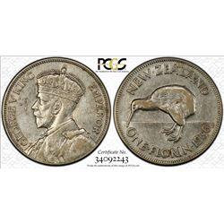 NEW ZEALAND: George V, 1910-1936, AR florin, 1936. PCGS AU50