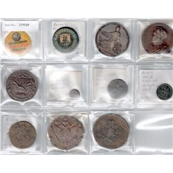 WORLDWIDE: EUROPE: LOT of 11 coins and exonumia, retail value $875