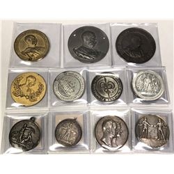 WORLDWIDE: LOT of 12 coins and large medals, retail value $750