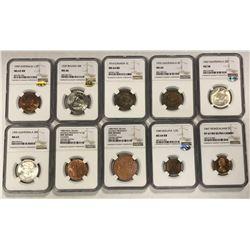 WORLDWIDE: LOT of 15 diverse NGC-graded coins