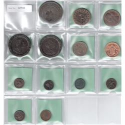 WORLDWIDE: LOT of 13 diverse bronze  (one zinc) coins and tokens