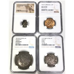 WORLDWIDE: LOT of 4 diverse coins certified by NGC