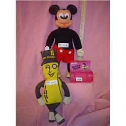 Stuffed dolls Mr. Peanut Mickey Mouse