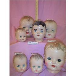 7 Boy Doll Heads Hard plastic Sayco