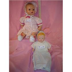 2 Dolls Cloth Stuffed w Compo. Heads