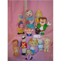 Tray of vinyl Squeaky Dolls MT