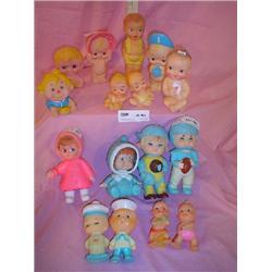 Tray of Squeaky vinyl Dolls MT