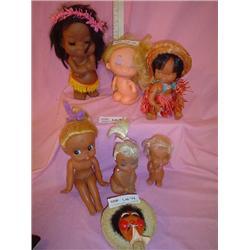 7 Vinyl Dolls  African American Indian