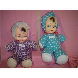 2 Large Cloth Stuffed Dolls w plastic f
