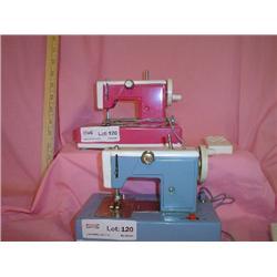 2 Metal Play Sewing Machines  pink blue