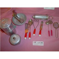 Aluminum Utensils Red Handled Playset