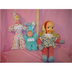3 Stuffed Dolls w  Plastic Faces