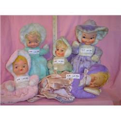 5 Pajama Bag Vinyl Faced Dolls