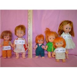Box of 6 Small Red Headed Dolls.
