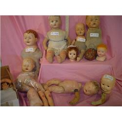Composition Doll Heads For Doll Repaire