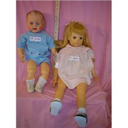 2 Large Dolls Stuffed Skin w Vinyl Head