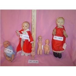Tray of 6 Dolls Bisque Cloth Stuffed Bo