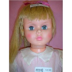 Large Tall Standing Doll. Pink striped