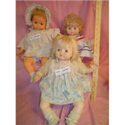 3 Dolls: Vinyl w/Cloth Stuffed Trunks.