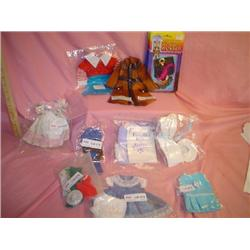 Tray of Assorted Doll Clothes. 6 Packag
