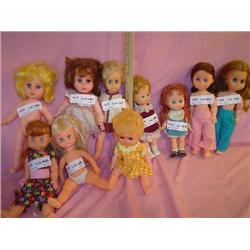 Tray of 10 Dolls: Vinyl/Plastic. Most a
