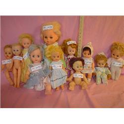 Tray of 11 Dolls. Plastic/Vinyl/Soft Fo