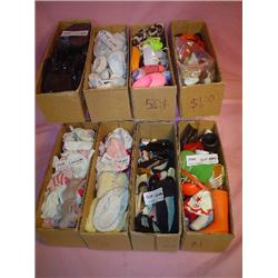 Large Box of Assorted Doll Shoes, Socks